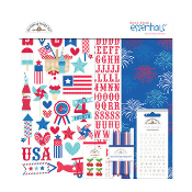 Doodlebug Design Stars & Stripes Collection 12x12 Essentials Kit